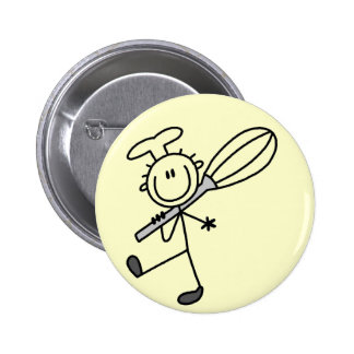 Stick Figure Chef with Whisk Tshirts Buttons