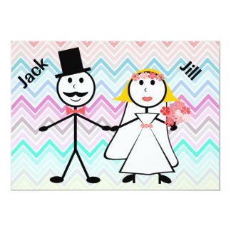 Stick Figure Chevron Jack and Jill Wedding Shower Custom Invites