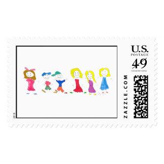 Stick Figure Children 2 Custom Postage