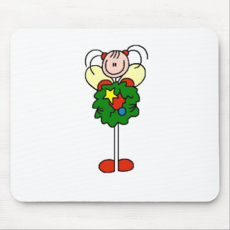 Stick Figure Christmas Wreath Girl Mouse Pad