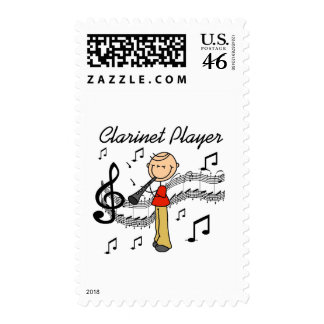 Stick Figure Clarinet Player Tshirts and Gifts Postage Stamp
