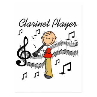 Stick Figure Clarinet Player Tshirts and Gifts Postcard