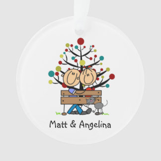 Stick Figure Couple and Cat Holiday Ornament