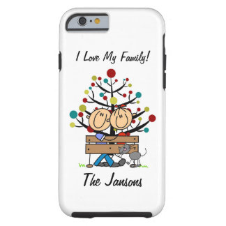Stick Figure Couple With Cat Personalized iPhone 6 Tough iPhone 6 Case