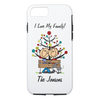 Stick Figure Couple With Cat Personalized iPhone 7 iPhone 7 Case