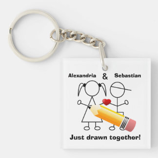 Stick Figure Couple With Hear Drawn Together Single-Sided Square Acrylic Keychain