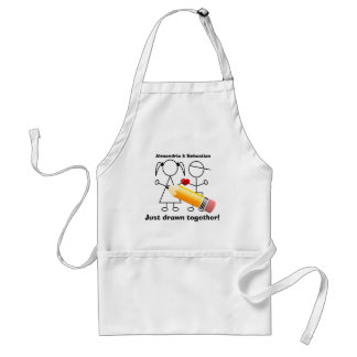 Stick Figure Couple With Heart Drawn Together Adult Apron