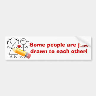 Stick Figure Couple With Heart Drawn Together Cute Bumper Sticker