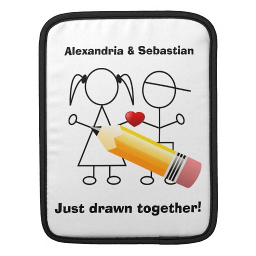 Stick Figure Couple With Heart Drawn Together iPad Sleeves