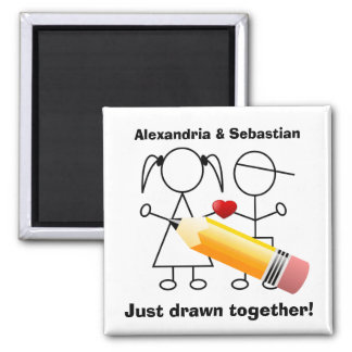 Stick Figure Couple With Heart Drawn Together Magnet