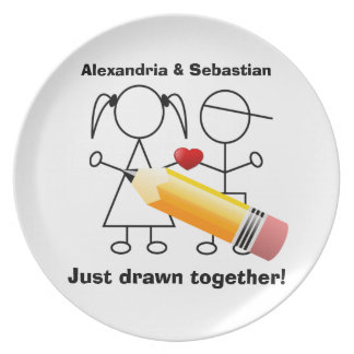 Stick Figure Couple With Heart Drawn Together Melamine Plate