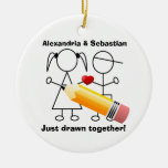 Stick Figure Couple With Heart Drawn Together Ornaments