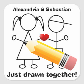 Stick Figure Couple With Heart Drawn Together Square Sticker