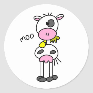 Stick Figure Cow Classic Round Sticker