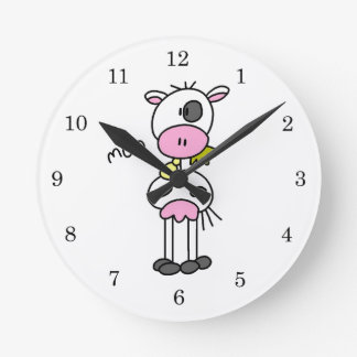 Stick Figure Cow T-shirts and GIfts Round Clock