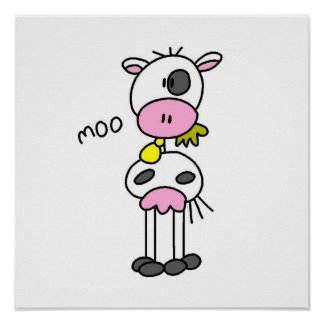 Stick Figure Cow T-shirts and GIfts Poster