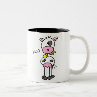 Stick Figure Cow Two-Tone Coffee Mug