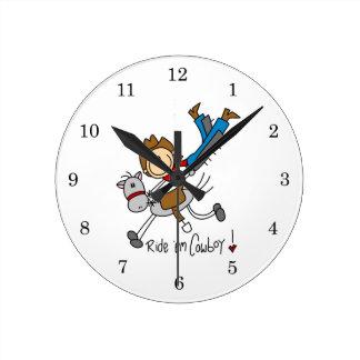 Stick Figure Cowboy Wall Clock