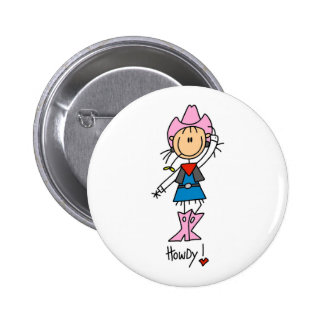 Stick Figure Cowgirl in Pink Hat/Boots Button