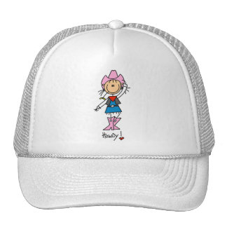 Stick Figure Cowgirl in Pink Hat/Boots Hat