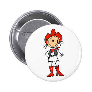 Stick Figure Cowgirl Red Hat and Boots Button