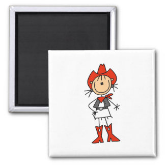 Stick Figure Cowgirl Red Hat and Boots Magnet