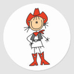 Stick Figure Cowgirl Red Hat and Boots Stickers