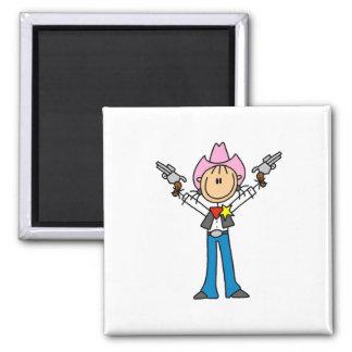 Stick Figure Cowgirl Sheriff Magnet