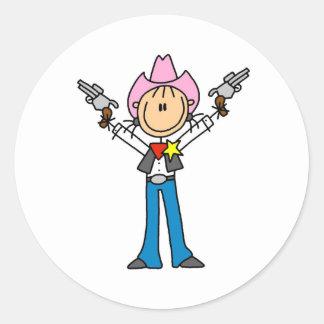 Stick Figure Cowgirl Sheriff Stickers