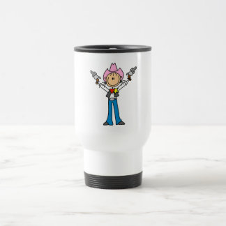 Stick Figure Cowgirl Sheriff Tshirts Travel Mug