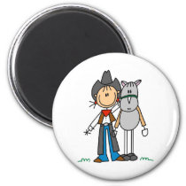 Stick Figure Cowgirl with Horse Magnet