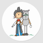 Stick Figure Cowgirl with Horse Stickers