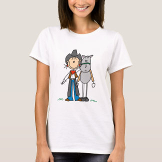 Stick Figure Cowgirl with Horse Tshirts