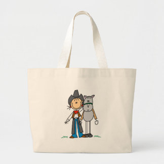 Stick Figure Cowgirl with Horse Tshirts Canvas Bags