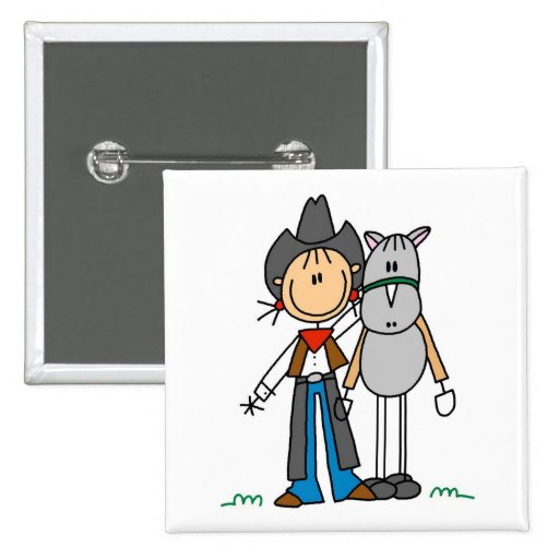 Stick Figure Cowgirl with Horse Tshirts 2 Inch Square Button