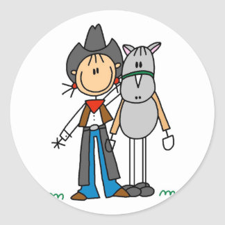 Stick Figure Cowgirl with Horse Tshirts Classic Round Sticker