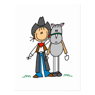 Stick Figure Cowgirl with Horse Tshirts Postcard