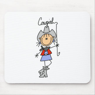 Stick Figure Cowgirl with Lasso Mousepad