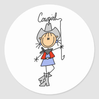 Stick Figure Cowgirl with Lasso Stickers