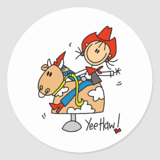 Stick Figure Cowgirl Yee Haw Stickers