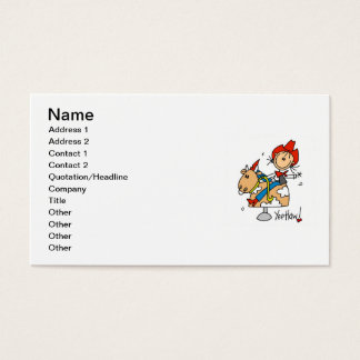 Stick Figure Cowgirl Yee Haw T-shirts and Gifts Business Card