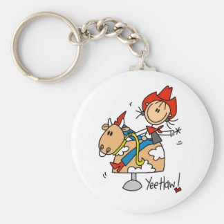 Stick Figure Cowgirl Yee Haw T-shirts and Gifts Basic Round Button Keychain