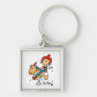 Stick Figure Cowgirl Yee Haw T-shirts and Gifts Silver-Colored Square Keychain
