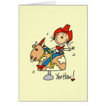 Stick Figure Cowgirl Yee Haw T-shirts and Gifts Stationery Note Card
