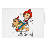 Stick Figure Cowgirl Yee Haw Tshirts and Gifts Greeting Card