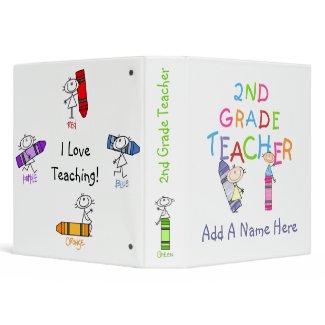 Stick Figure Crayons 2nd Grade Teacher Binder binder