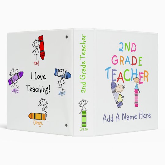 Stick Figure Crayons 2nd Grade Teacher Binder