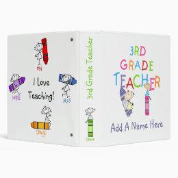 Stick Figure Crayons 3rd Grade Teacher Binder