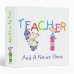 Stick Figure Crayons Teacher Binder