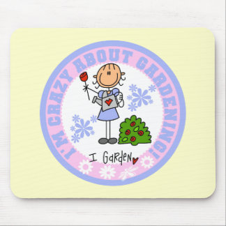 Stick Figure Crazy About Gardening T-shirts Mouse Pad